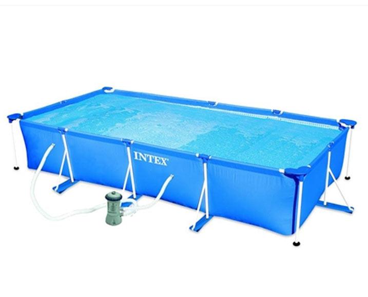 Piscina tubular tubular rectangular azul ref 19457270 for Piscina tubular pequena