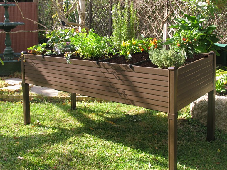 Mesa de huerto de pvc chocolate 5 compartimentos ref - Mesa de cultivo leroy ...