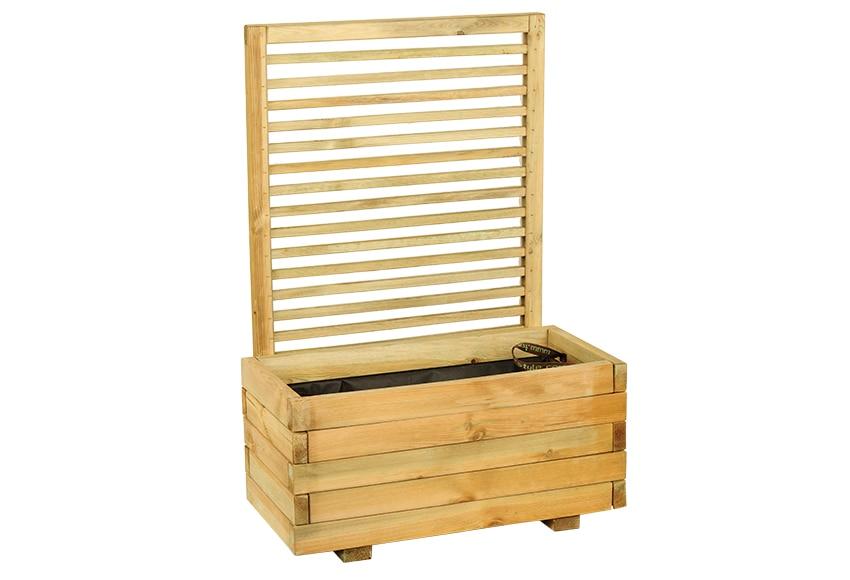 Jardinera rectangular de madera con celos a cajou 80 x 40 - Celosia con jardinera ...