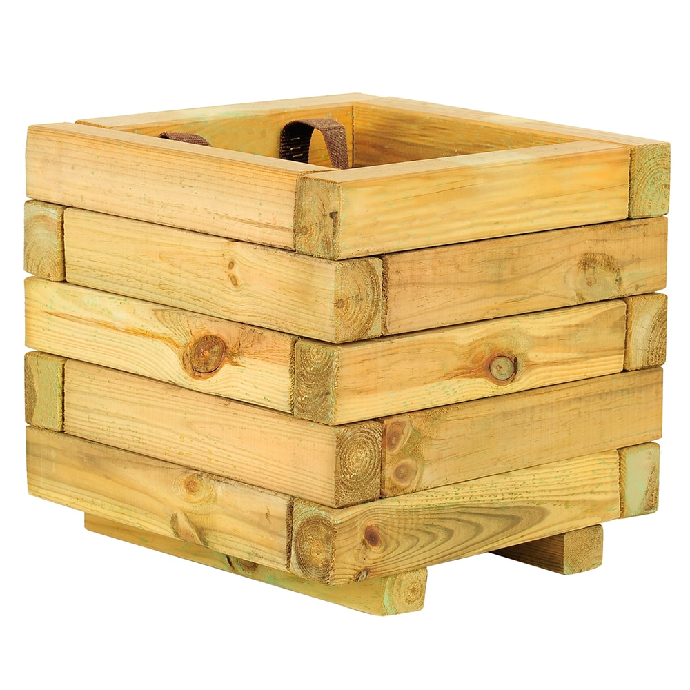Jardinera de madera baroque cuadrada ref 16137625 leroy for Laminas de madera leroy merlin