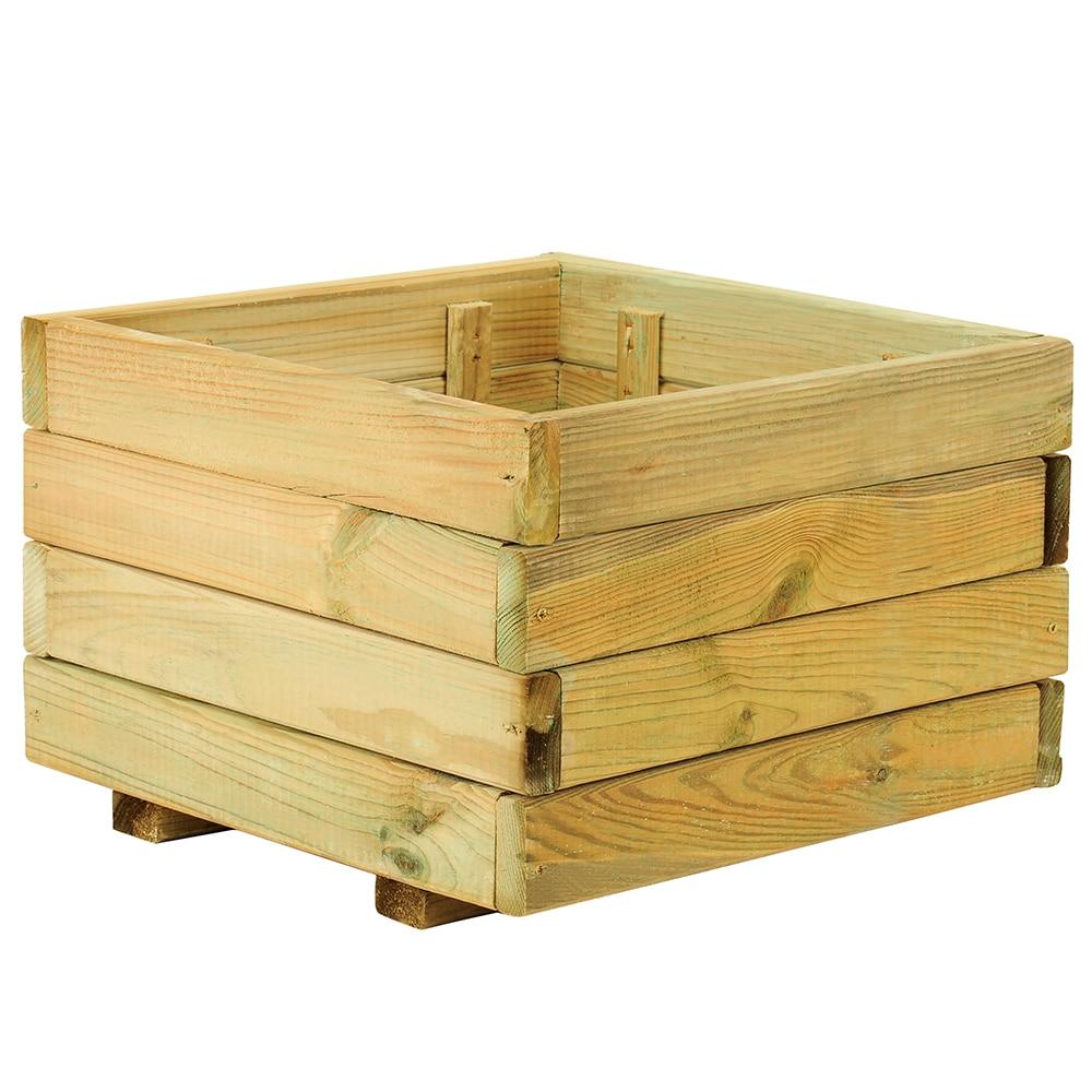 Jardinera de madera madera cuadrada ref 14098546 leroy - Tendedero de techo leroy merlin ...