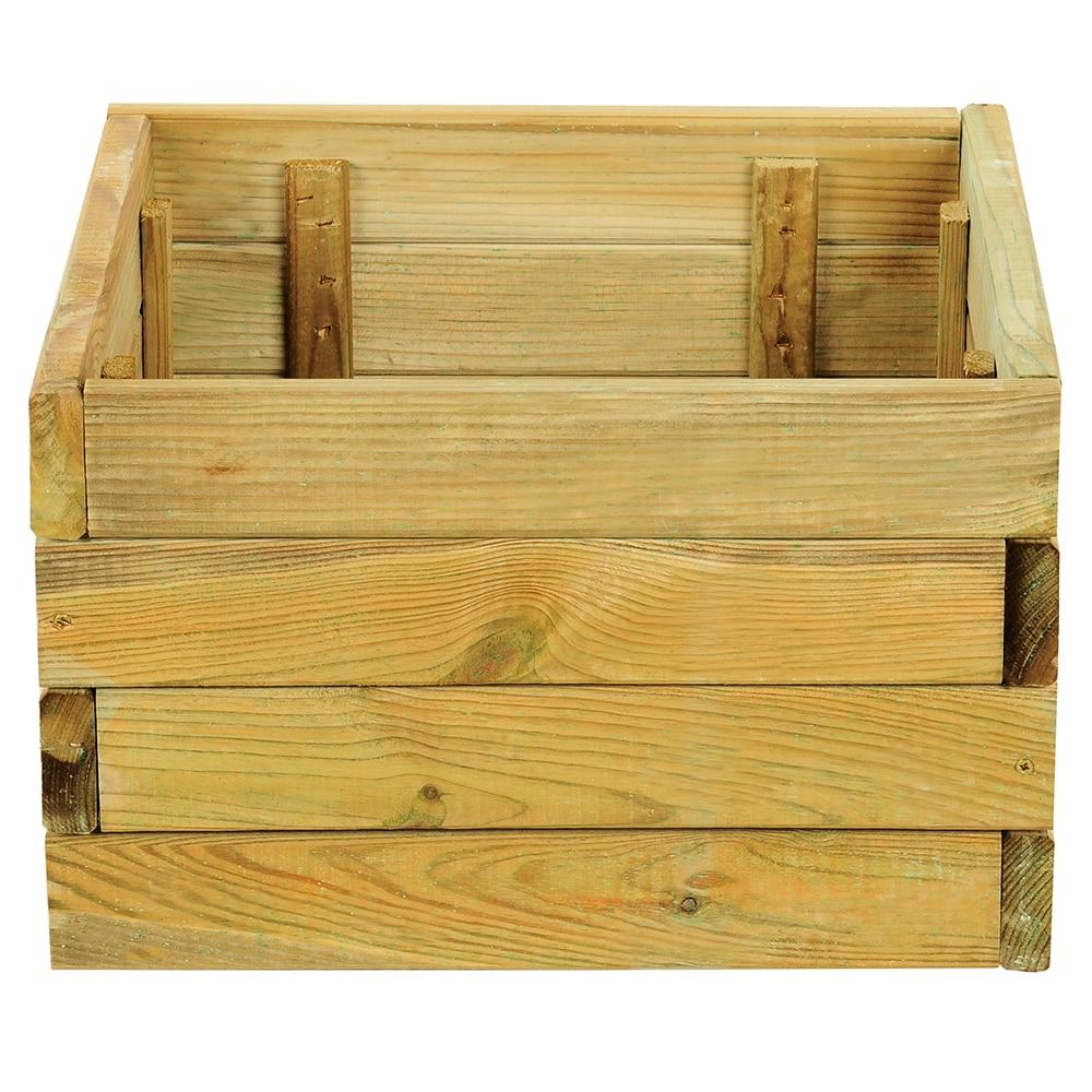 Jardinera de madera madera cuadrada ref 14098546 leroy - Celosias de madera leroy merlin ...