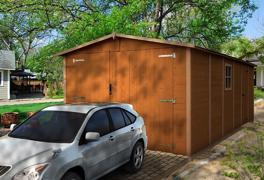 Garaje de madera de abeto de 19 52 m2 neuvy ref 14670733 - Garaje de madera ...