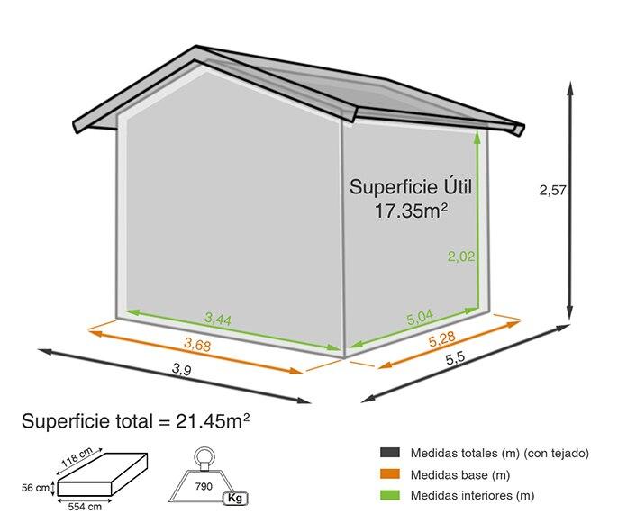 Garaje de madera de abeto de 21 45 m2 beaulieu ref for Casetas de chapa leroy merlin