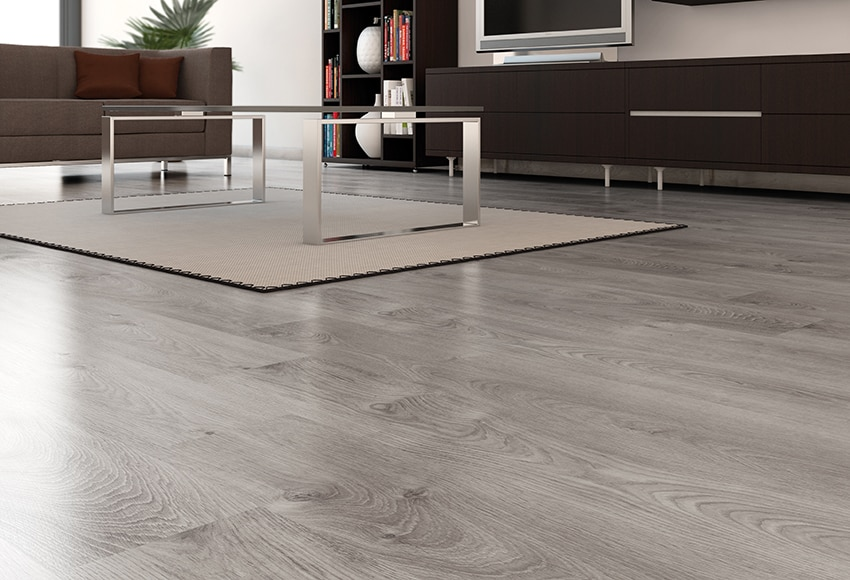 Suelo laminado basic gris ac5 ref 17437504 leroy merlin - Colores de suelos laminados ...