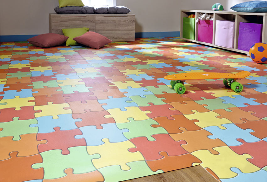 Suelo de vinilo line play puzzle ref 12753405 leroy merlin - Suelos de vinilo infantiles ...