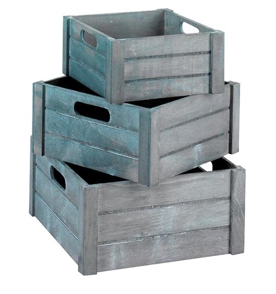 3 cajas de madera gris ref 15703786 leroy merlin - Cajas madera leroy merlin ...