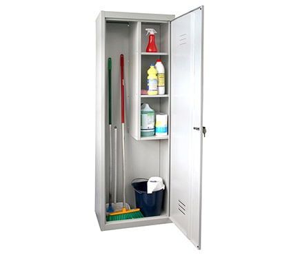 Armario met lico escobero 2 puertas gris 180x60x40 ref for Armarios de jardin leroy merlin