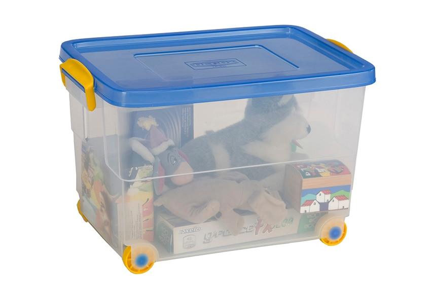 Caja de pl stico transparente eurobox for Cajas plasticas con ruedas