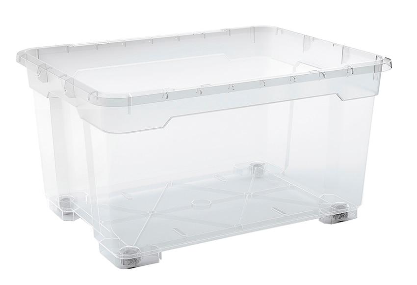 Caja multiusos con ruedas r box ref 15880410 leroy merlin for Cajas de plastico transparente