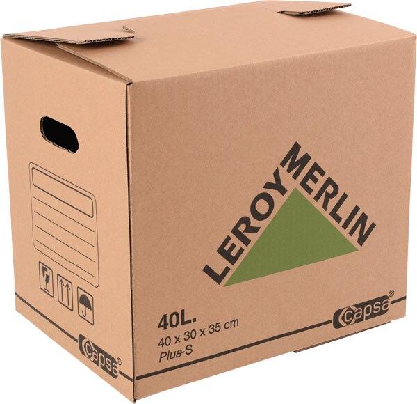 Caja de cart n plus 40 litros ref 15305311 leroy merlin for Cajas almacenaje leroy merlin