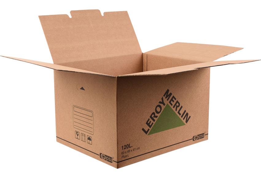 Caja de cart n plus 120 litros ref 15305493 leroy merlin for Cajas de herramientas vacias
