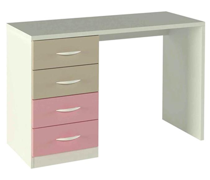 Mesa de estudio con 4 cajones color moka y rosa serie for Mesa estudio con cajones
