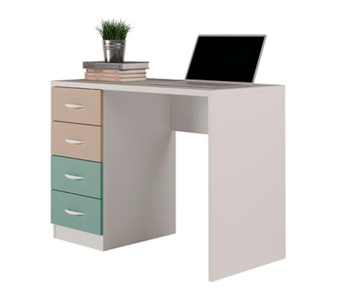Mesa de estudio con 4 cajones color moka y verde serie for Mesa estudio con cajones