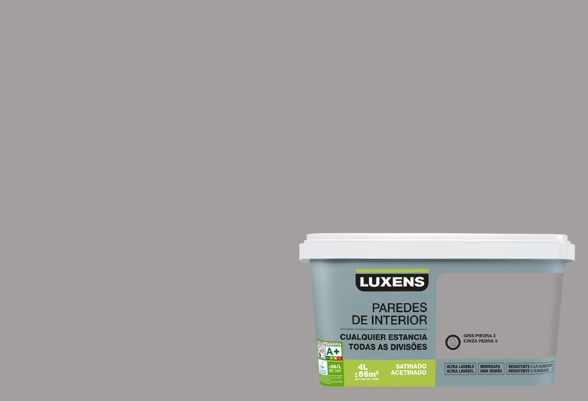 Pintura de color para paredes y techos luxens ultralavable for Pintura color blanco piedra