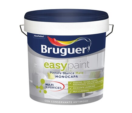 Pintura blanca para interior bruguer easy paint mate ref for Pintura satinada blanca para puertas