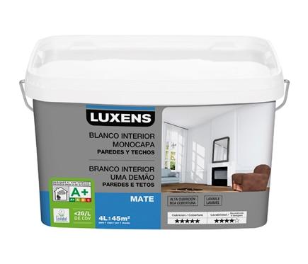 Pintura blanca para interior luxens monocapa mate ref for Pintura plastica leroy merlin