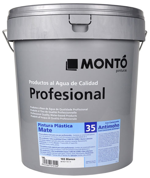 Pintura blanca para interior monto profesional mate 35 ref - Precio pintura plastica interior ...