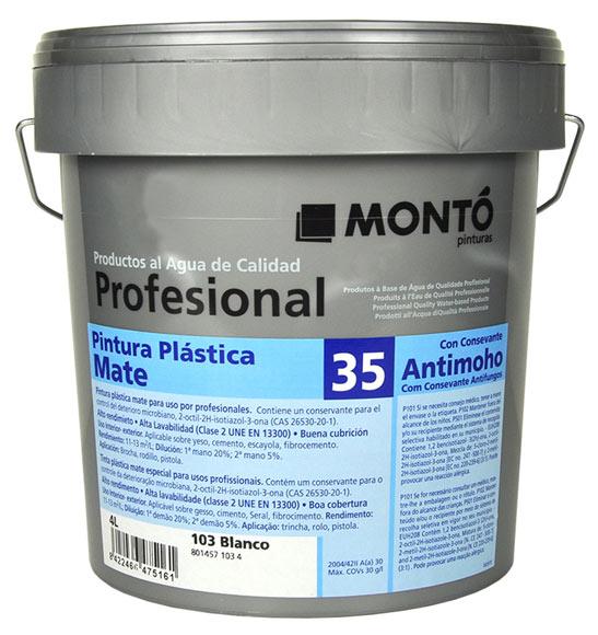 Pintura blanca para interior monto profesional mate 35 ref for Pintura plastica leroy merlin