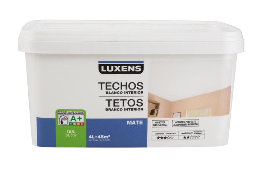 Pintura blanca para interior luxens techos mate ref for Pintura aislante acustica leroy merlin