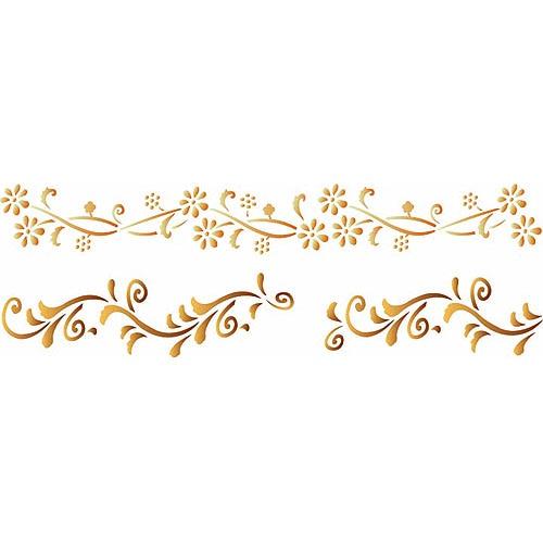 Les decoratives plantilla decorativa n 128 flores - Plantillas cenefas para pintar ...