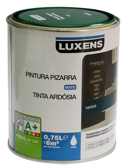 Pintura pizarra luxens pizarra verde ref 17445526 leroy for Pintura aislante acustica leroy merlin