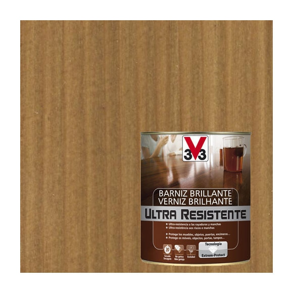 Barniz de interior ultraresistente brillante v33 roble - Barniz para madera interior ...