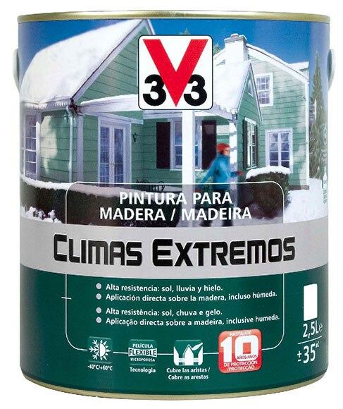 Pintura para madera climas extremos v33 brillante blanco - Pintura para maderas interior ...