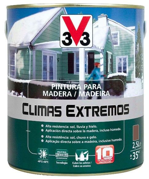 Pintura para madera climas extremos v33 brillante marr n for Pintura para puerta de madera exterior
