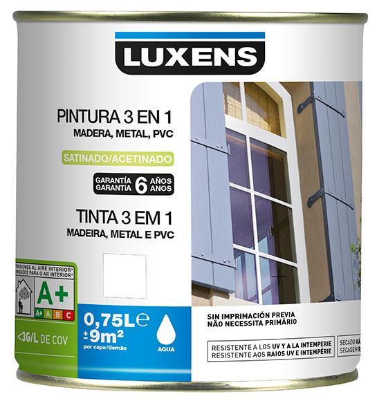 Pintura 3 en 1 luxens madera metal pvc blanco blanco 0 ref - Pintura para madera leroy merlin ...