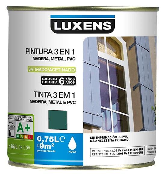 Pintura 3 en 1 luxens madera metal pvc verde carruaje 6005 for Pintura plastica leroy merlin