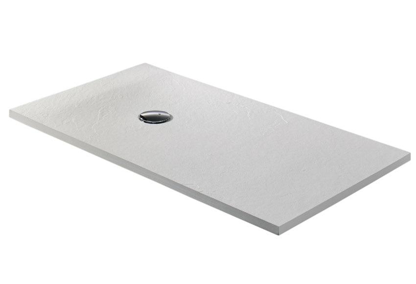 Plato de ducha carga mineral compact blanco rectangular for Ducha jardin leroy merlin