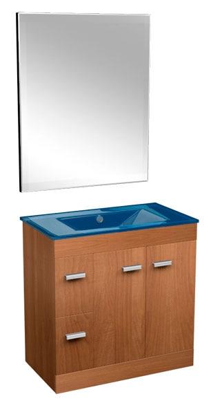 Conjunto de muebles de bano motril 80 cm nogal azul ref for Muebles de bano azul