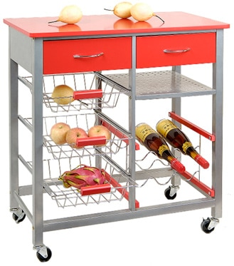 Carrito con tapa de mesa pondecor cerde a rojo doble ref for Mesa cocina frutero