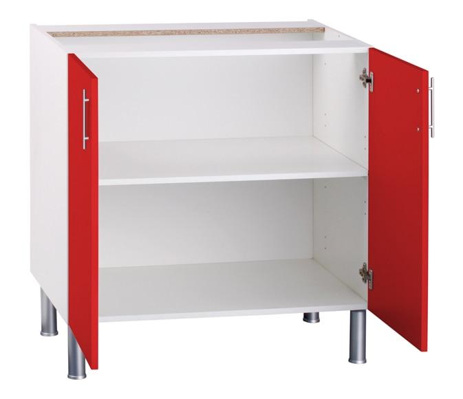 Bajo fregadero basic 70 16 x 80 rojo basic cocina rojo ref for Cocinas leroy merlin opiniones