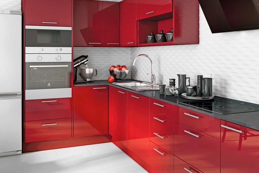 Cocina delinia galaxy rojo ref 16987796 leroy merlin - Paredes de cocinas modernas ...