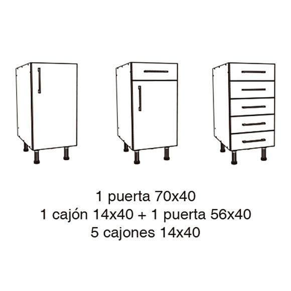 M dulo bajo delinia 40 x 70 cm ancho x alto ref for Modulos de cocina leroy merlin