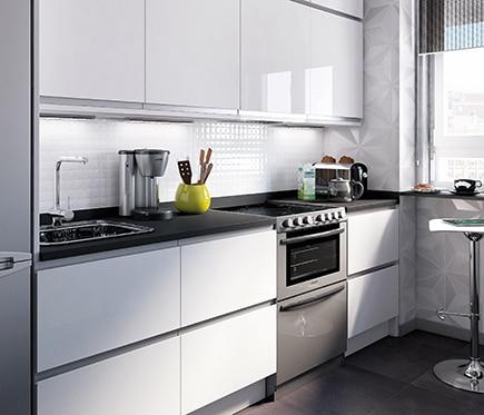 Cocina blanca brillo best tiradores para cocina blanca for Cocinas delinia