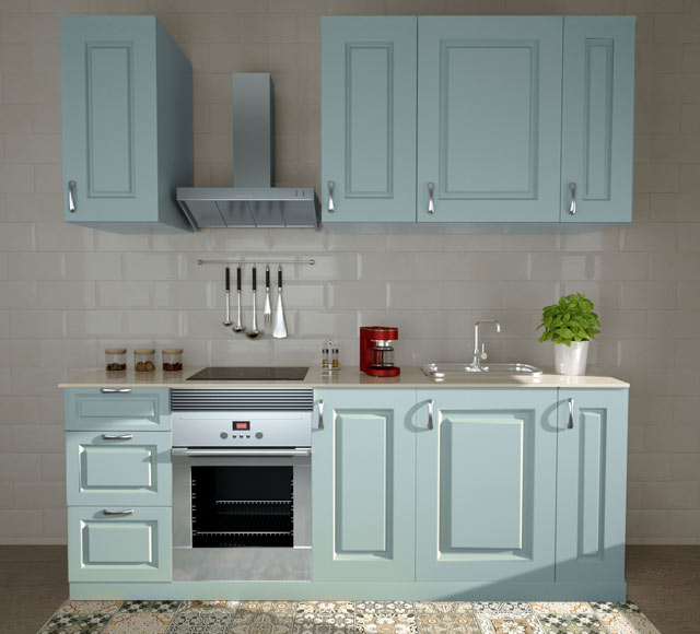 Composici n de cocina delinia gales azur de 2 40 metros for Precio montaje cocina leroy merlin
