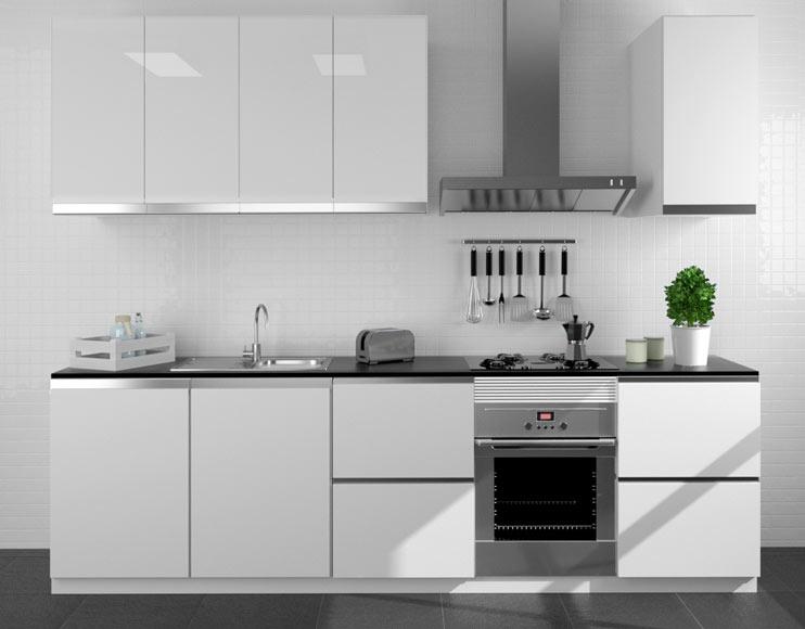 Composici n de cocina delinia horizon blanco brillo 300 cm for Zocalo aluminio cocina leroy merlin