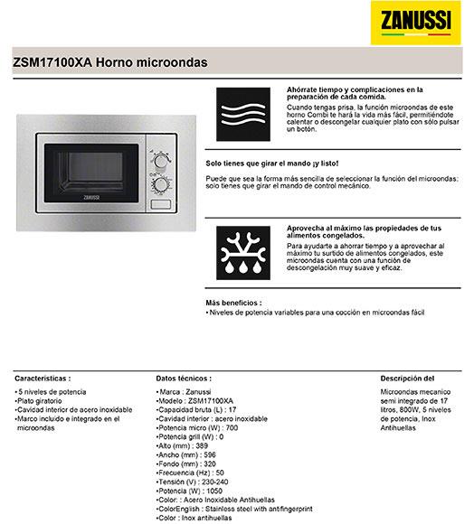 Microondas zanussi zsm17100xa ref 17575901 leroy merlin - Rejilla microondas leroy merlin ...