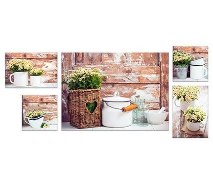 Set de 5 canvas 50 x 67 cm flores ref 17930052 leroy merlin - Canvas leroy merlin ...
