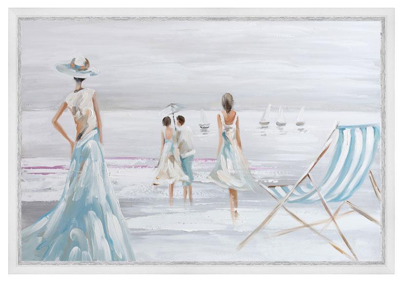Lienzo 60 x 90 cm mujeres playa pintura ref 17943912 for Enmarcar cuadros leroy merlin