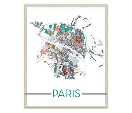 Cuadro 40 x 50 cm PRINTBOX MAP PARIS BL/NAT