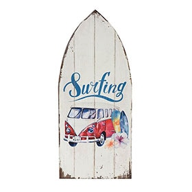 Madera impresa 26 x 60 cm SURFING RED BUS