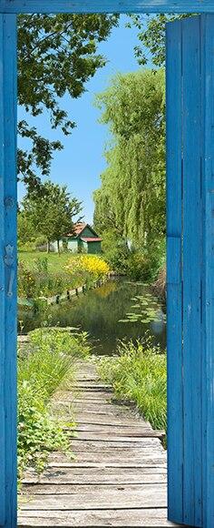 Vinilo para puerta camino estanque ref 16776844 leroy - Estanque jardin leroy merlin ...
