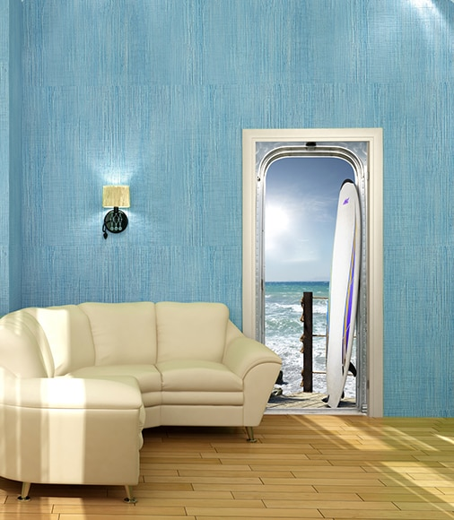 Vinilo para puerta sticker puerta tabla surf ref 17423336 - Vinilos pared leroy merlin ...