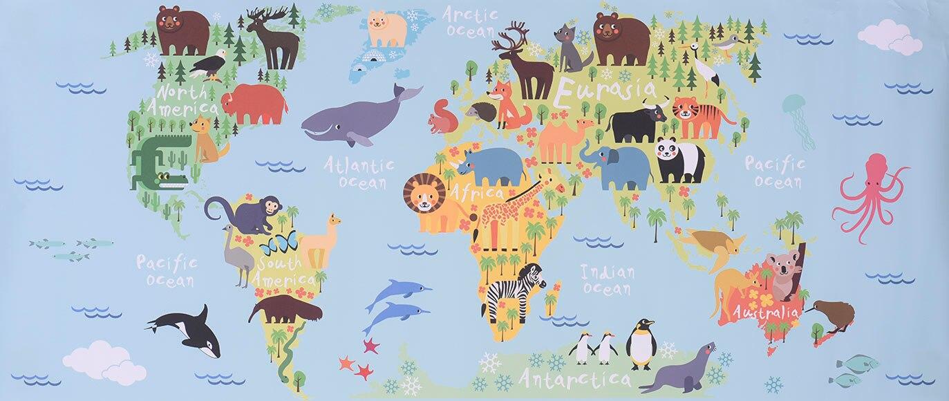 Vinilo infantil mapamundi animales 2xl ref 19119184 leroy merlin - Vinilo mapamundi infantil ...