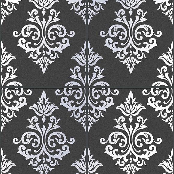 Papel pintado pallade negro y plata ref 14002485 leroy merlin - Papel pintado negro ...