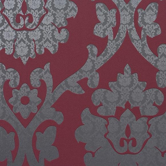 Papel pintado organza brocante rojo ref 15030575 leroy for Papel pintado coruna